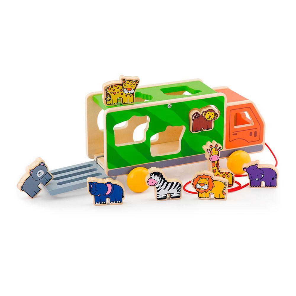 Деревянная каталка-сортер Грузовик со зверятами Viga Toys 50344