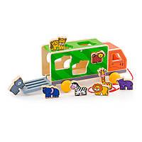 Деревянная каталка-сортер Грузовик со зверятами Viga Toys 50344, фото 1