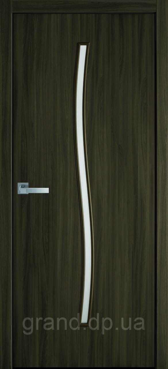 Міжкімнатні двері Новий стиль екошпон Гармонія зі склом сатин, колір Кедр