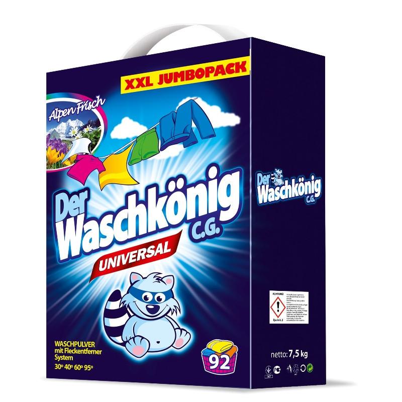 (Брак, пошкоджена упаковка, заклеїли скотчем) Порошок для прання Waschkonig universal Alpen Fnsch 7,5 кг.