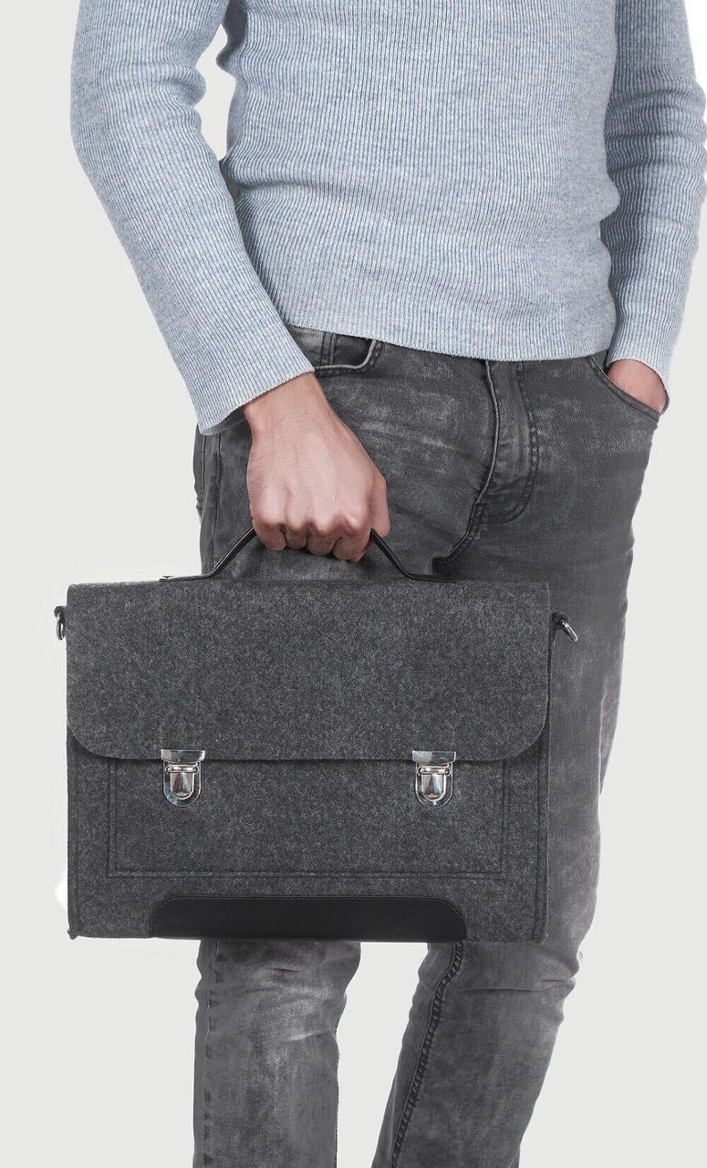 Фетровый чехол-сумка Gmakin для MacBook Air/Pro 13.3 с ручками Черный (GS14)