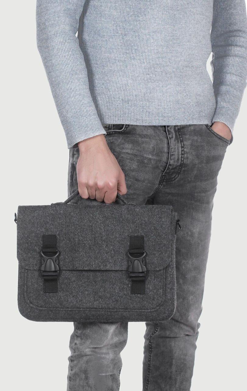 Фетровый чехол-сумка Gmakin для MacBook Air/Pro 13.3 с ручками Черный (GS17)