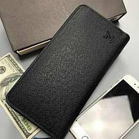 Мужской черный кошелек Louis Vuitton. Мужское портмоне луи витон.