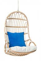Подвесное кресло-качель Шелл CRUZO натуральный ротанг Медовый ks0008, КОД: 2355566