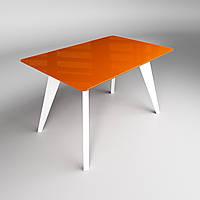 Стеклянный стол Sentenzo ЛЕОНАРДО 1100x640x750 Оранжевый Белый 236631326858, КОД: 1918600