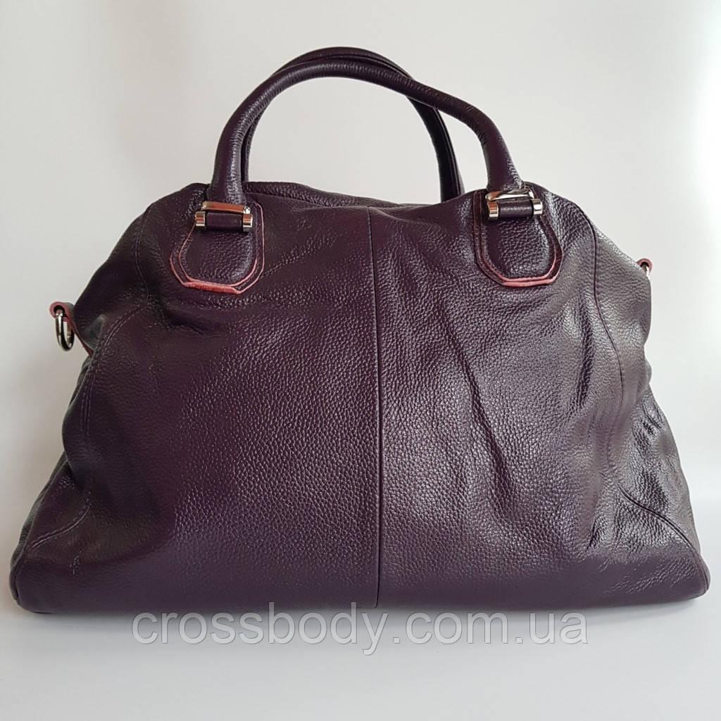 Женская сумка-торба натуральная кожа баклажан