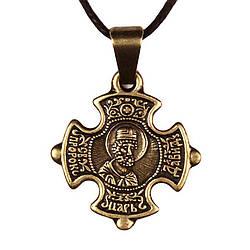 Крест нательный криновидный Давид Святой просветитель епископ Давид Металл медненный 3х2х0,2 см 0, КОД: