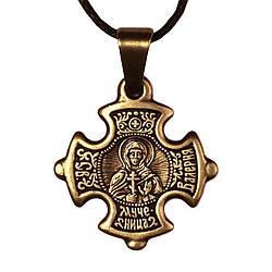 Крест нательный криновидный Валерия Святая мученица Валерия Кесарийская Металл медненный 3х2х0,2, КОД: 1737897