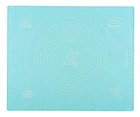 Силиконовый антипригарный коврик для выпечки и раскатки теста 50x40 см Бирюзовый n-771, КОД: 2394026