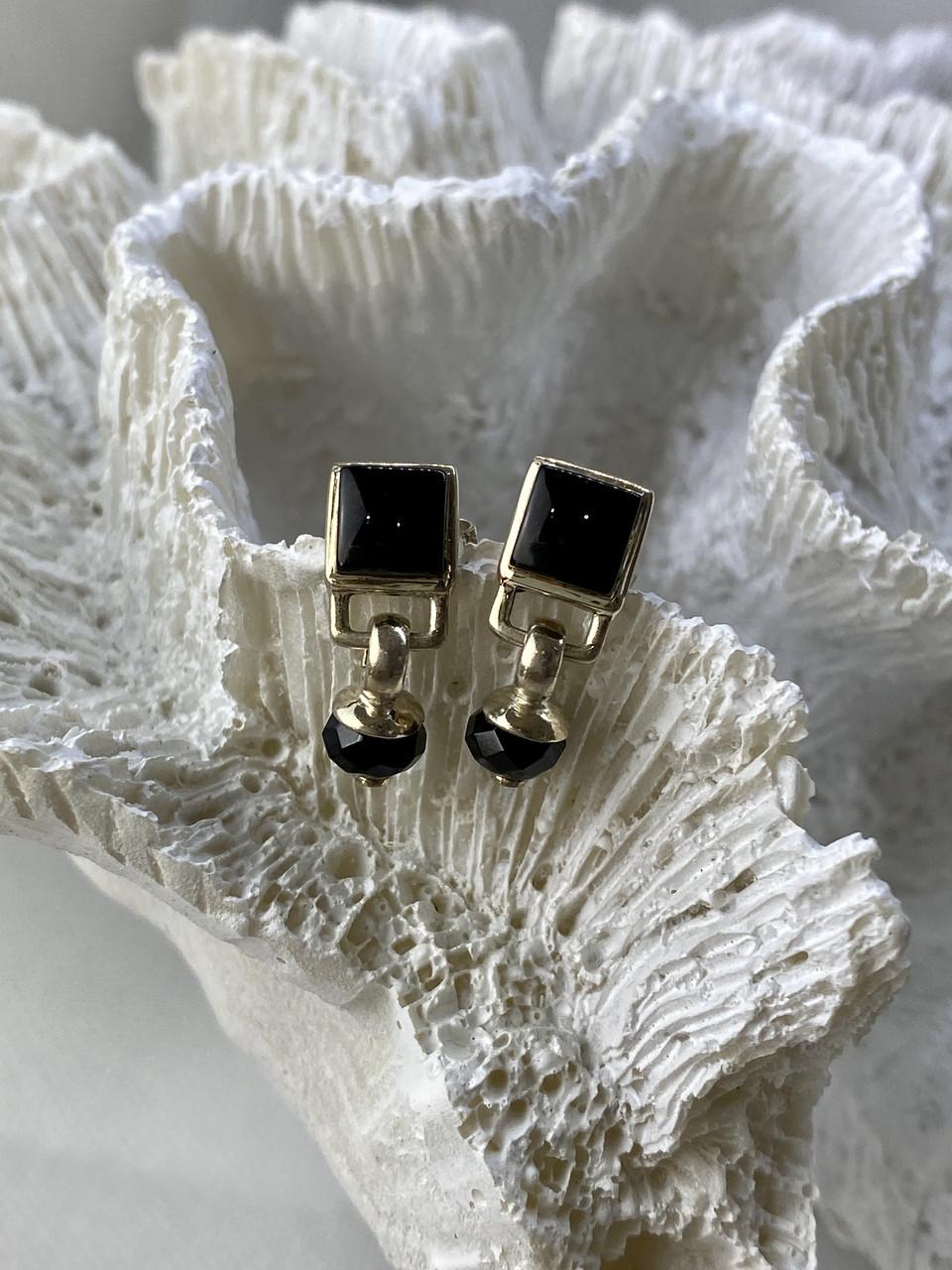 Серебряные серьги с нефритом  Винтаж