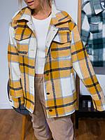 Бомбер-рубашка в клетку с подкладкой SRS One Size Желтый, КОД: 1938377