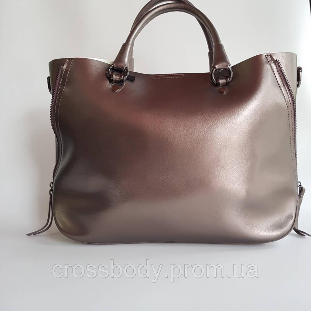 Женская сумка-торба натуральная кожа бронза