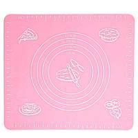 Силиконовый антипригарный коврик для выпечки и раскатки теста 50x40 см VOLRO Розовый vol-326, КОД: 1709262