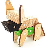 Магнитный деревянный конструктор Зевс Зоопарк 19 деталей З-01, КОД: 116892