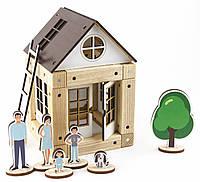 Деревянный эко-конструктор Zevs-toys Домик с коричневой крышей 44 детали 4003264, КОД: 1187172