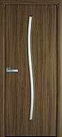Міжкімнатні двері Гармонія Екошпон зі склом сатин, колір вільха 3D