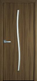 Межкомнатные двери Новый стиль экошпон Гармония со стеклом сатин цвет Ольха 3D