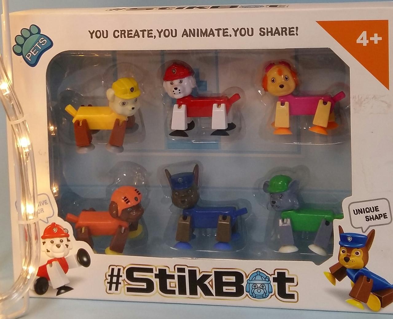 Дитячий набір ігрових фігурок StikBot Стикбот щенячий патруль 1157