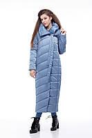Зимняя женская куртка ORIGA Вероника удлиненная 46 Сине-голубой, КОД: 1341652