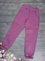 Спортивные детские штаны 3х нитка с начёсом на рост 128-152, фиолетовые