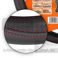 """Оплет руля  кожа """"L"""" (39-40см) черный  Elegant 105687 прошита красной ниткой   (25шт/ящ) *"""