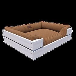 Мягкая лежанка с деревянным каркасом HardYard 63х49х16 см Белый с кофейным HY-WS06045-WС, КОД: 1936533