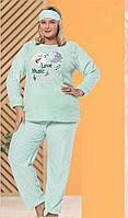 Теплая женская пижама большого размера на зиму 2021, фото 1