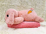 Плед - мягкая игрушка 3 в 1  Заяц розовый (90), фото 2