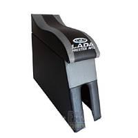 Подлокотник мод. LADA 2105-07 серый с ЛОГО NEW (изогн. под руку)