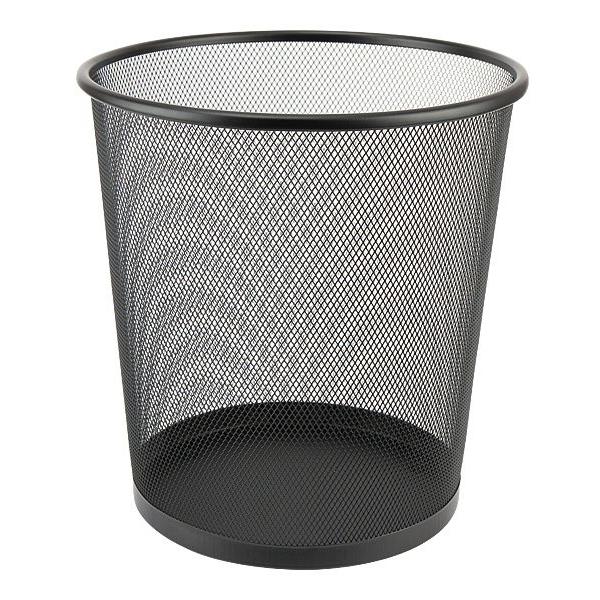 Корзина для мусора круглая, металлическая, черная Optima