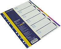 """Розділювач сторінок """"Economix"""" №E30806 пластик. A4 6розділів кольор."""