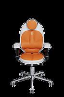 Детское эргономичное кресло KULIK SYSTEM TRIO Белое с оранжевым 1401, КОД: 1335538