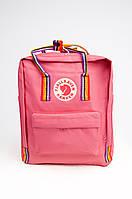 Рюкзак Fjallraven Kanken Classic Rainbow 16 л с радужными ручками Коралловый FK16-35, КОД: 1667324