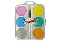 Краски перламутровые акварельные Malinos Maxi Perleffekt 6 цветов MA-300014, КОД: 2446960