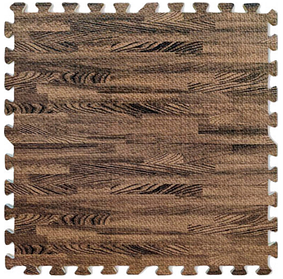 Модульное напольное термо покрытие мягкий пол-паз напольные панели пазлы 6шт. 60х60х10 мм темное дерево EVA