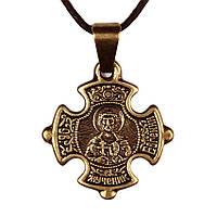 Крест нательный криновидный Евгений Святой мученик Евгений Севастийский Металл медненный 3х2х0,2, КОД: 1737841