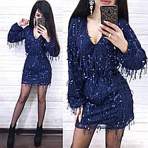 Платье нарядное свободное короткое с пайеткой длинный рукав, фото 3