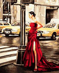 Картина по номерам Brushme Девушка и желтое такси 40х50 см GX9202, КОД: 1317713