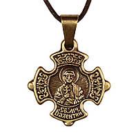 Крест нательный криновидный Валентин Святой мученик Валентин Доростольский Металл медненный 3х2х0, КОД: