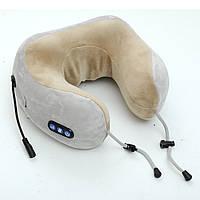 Подушка дорожная для шеи замшевая+полиуретан с памятью, масссажер 3 режима  Pillow 414