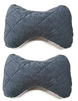 Подушка на підголовник тканина алькантара сіра (2шт)