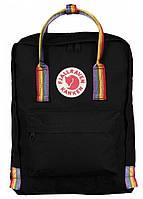 Городской рюкзак Fjallraven Kanken Art с ручками 16 л Черный art 1, КОД: 1620670