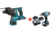 Аккумуляторный перфоратор Makita DHR280Z+аккумуляторная дрель-шуруповерт Makita DDF453RFX7 DHR280, КОД: