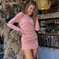 Розовое вечернее платье с затяжками, фото 1
