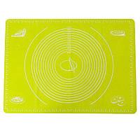 Силиконовый антипригарный коврик для выпечки и раскатки теста 50x40 см VOLRO Желтый vol-334, КОД: 1738377