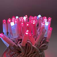 Светодиодная гирлянда нить 10м 100LED розовая на белом кабеле 10Wflash