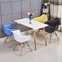 Комплект кухонный Стол обеденный Нури SDM квадратный 80х80 см, белый + 4 Разноцветных кресла Та, КОД: