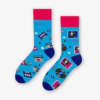 Мужские синие носки More 079 с винилом и кассетами