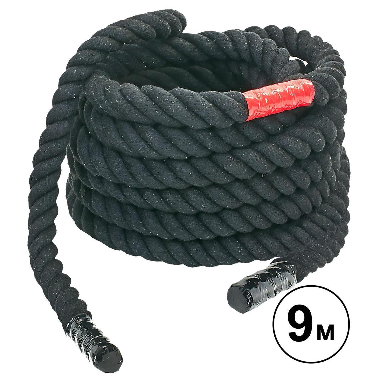 Канат для кроссфита COMBAT BATTLE ROPE UR R-6225-9 (хлопок, l-9м, d-2,6см, черный)