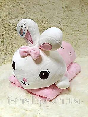 Плед - мягкая игрушка 3 в 1  Зайчик розовый (95)